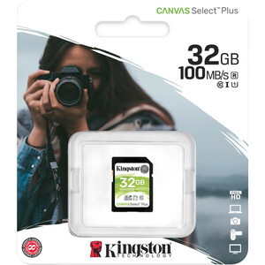 Kingston Canvas Select Plus 32 GB Class 10/UHS-I (U1) SDHC - 1 Pack - 100 MB/s Read