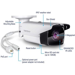 TRENDnet TV-IP1313PI 5 Megapixel HD Network Camera - 80 m Night Vision - H.264, H.264+, H.265, H.265+, MJPEG - 2944 x 1656