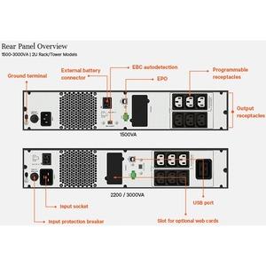 VERTIV EDGE EDGE-2200IRT2UXL Line-interactive UPS - 2.20 kVA/1.98 kW - 2U Rack/Tower - 3 Hour Recharge - 4.40 Minute Stand