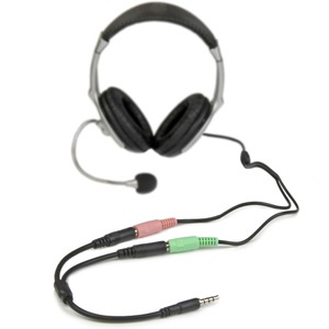 StarTech.com Headset adapter for headsets with separate headphone / microphone plugs - 3.5mm 4 position to 2x 3 position 3