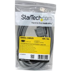Cable de Módem Nulo Serie RS232 DB9 Hembra a Macho de 3m StarTech.com SCNM9FM