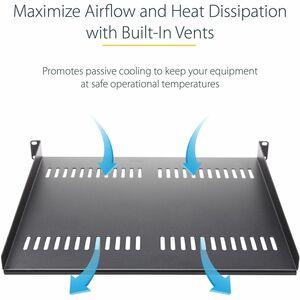 StarTech.com 2U 22in Vented Rack Mount Shelf - Fixed Server Rack Cabinet Shelf - 50lbs / 22kg - Add a sturdy, 22in depth v