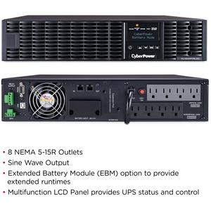 CyberPower UPS Systems OL1500RTXL2U Smart App Online -  Capacity: 1500 VA / 1350 W - 2U Rack/Tower - 4 Hour Recharge - 3.4