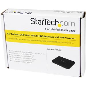 StarTech.com Caja Carcasa USB 3.0 de Disco Duro HDD SATA 3 III de 2,5 Pulgadas Externo con UASP - 1 x HDD admitido - 1 x S