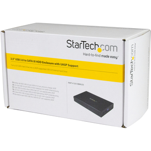 "StarTech.com 3.5in Black Aluminum USB 3.0 External SATA III SSD / HDD Enclosure with UASP for SATA 6Gbps - 3.5"" SATA Hard"