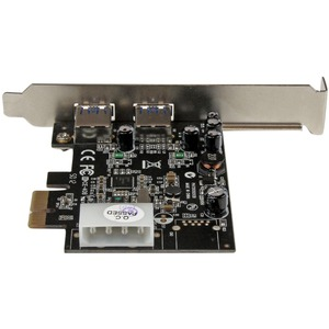 StarTech.com 2 Port PCI Express (PCIe) SuperSpeed USB 3.0 Card Adapter with UASP - LP4 Power - Dual Port USB 3 PCIe Contro