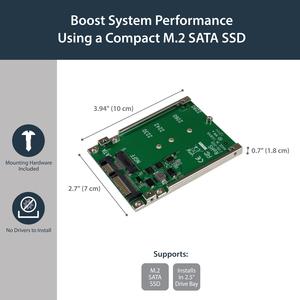 StarTech.com M.2 SSD to 2.5in SATA Adapter Converter - NGFF SSD to 2.5in SATA Converter Adapter with Open Frame Housing an