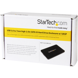 "StarTech.com 2.5in USB 3.0 SATA Hard Drive Enclosure w/ UASP for Slim 7mm SATA III SSD / HDD - 7mm 2.5"" Drive Enclosure -"