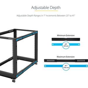 StarTech.com 12U Adjustable Depth Open Frame 4 Post Server Rack w/ Casters / Levelers and Cable Management Hooks - 544 g S