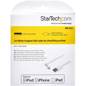 StarTech.com Angled Lightning to USB Cable - 1,8 m (6 ft.) - White - Apple MFi Certified - First End: 1 x Lightning Male P