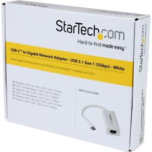 StarTech.com Adattatore di rete USB-C a RJ45 Gigabit Ethernet - USB 3.1 Gen 1 - (5 Gbps) - Bianco - USB 3.1 - 1 Porta(e) -
