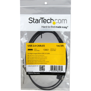 StarTech.com 91cm (3 ft.) Micro-USB Cable with Right-Angled Connectors - M/M - USB A to Micro B Cable - 3ft Right Angle Mi