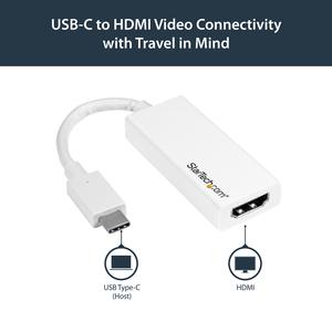 StarTech.com Adattatore video USB-C a HDMI - M/F - Ultra HD 4K - Bianco - Estremità 1: 1 x Tipo C Maschio USB - Estremità