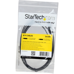 StarTech.com 2 m Mini-phone Audio Cable for iPhone, Headphone, Audio Device - 1 - First End: 1 x Mini-phone Male Stereo Au
