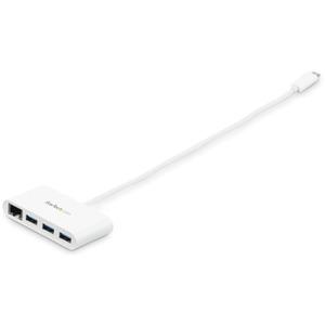 StarTech.com USB-C to Ethernet Adapter with 3 Port USB C Hub - Gigabit - White - Thunderbolt 3 Compatible - MacBook Pro 20