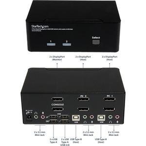 StarTech.com 2 Port DisplayPort Dual-Monitor KVM Switch - DisplayPort KVM - 4K 60 Hz - 2 Computer(s) - 1 Local User(s) - 3