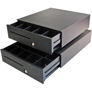 APG Cash Drawer Series 100 1616 Cash Drawer - 5 Bill - 8 Coin - Steel - Black - 124 mm Height x 406 mm Width x 427 mm Depth
