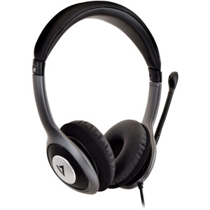 Auriculares Deluxe USB de V7 con micrófono provisto de cancelación de ruidos, control de volumen, auriculares digitales pa