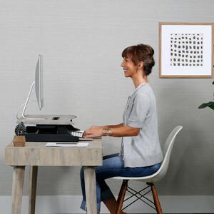 Ergotron WorkFit-Z Workstation - Wood Grain Rectangle, Dove Grey Top