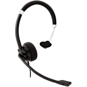 V7 Deluxe HU411 Wired Over-the-head Mono Headset - Black, Silver - Monaural - Supra-aural - 31.50 Hz to 20 kHz - 180 cm Ca