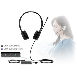 Yealink UH36 Dual Teams Wired Over-the-head Stereo Headset - Black/Silver - Binaural - 32 Ohm - 20 Hz to 20 kHz - Noise Ca