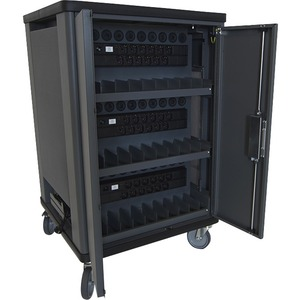 V7 CHGCT30I-1E Charging Cart - Recessed Handle - 4 Casters - 127 mm Caster Size - Cold-rolled Steel (CRS) - 690.1 mm Lengt