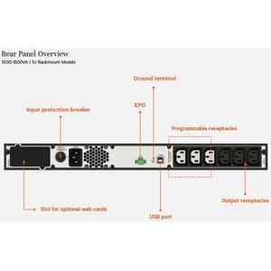 VERTIV EDGE EDGE-1000IRM1U Line-interactive UPS - 1 kVA/900 W - 1U Rack-mountable - AVR - 3 Hour Recharge - 5 Minute Stand