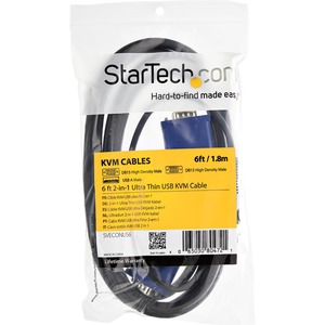 StarTech.com Ultra Thin USB KVM Cable - First End: 1 x Type A Male USB - Second End: 1 x HD-15 Male VGA, Second End: 1 x H
