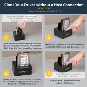 StarTech.com Duplicatore Autonomo rapido USB 3.0 eSATA per disco rigido SATA 6Gbps - Clonatore HDD - 2 x Disco rigido supp