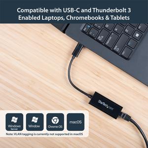 StarTech.com USB-C to Gigabit Ethernet Adapter - Black - Thunderbolt 3 Port Compatible - USB Type C Network Adapter - USB
