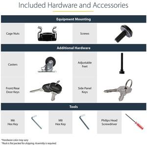 StarTech.com rmario Desarmable de 36 Pulgadas y 25U con Ruedas para Rack de Servidores - 801,95 kg Capacidad de peso máx.