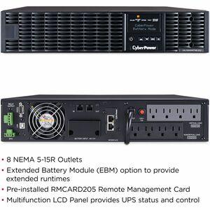 CyberPower UPS Systems OL1500RTXL2UN Smart App Online -  Capacity: 1500 VA / 1350 W - CyberPower OL1500RTXL2UN 1.5KVA Onli