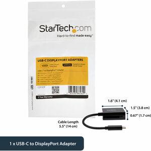 StarTech.com Adattatore USB-C a DisplayPort - Convertitore Video USB-C type-C a DP - 4k 60hz - Nero - Estremità 1: 1 x Tip