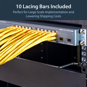 """StarTech.com Horizontal Lacing Bar w/ 2 inch Offset at 75 Degrees- Server Rack Cable Management- 19"""" Network Rack-Mount Co"""