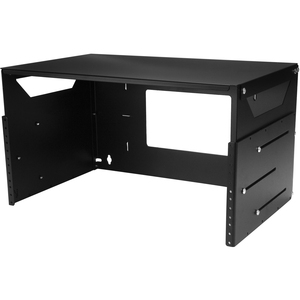 "4U Open Frame Wall Mount Network Rack w/ Built in Shelf - 2-Post Adjustable Depth (12"" to 18"") Equipment Rack - 75.2lbs (W"