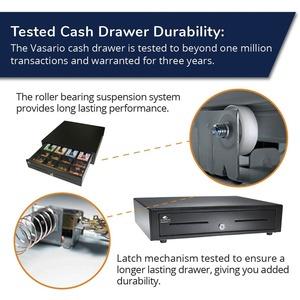 APG Cash Drawer Vasario 1616 Cash Drawer - 4 Bill - 8 Coin - 2 Media Slot - Stainless Steel, Plastic - Black - 109.2 mm He