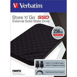Verbatim Store 'n' Go 256 GB Portable Solid State Drive - External - Notebook, Desktop PC Device Supported - USB 3.2 (Gen