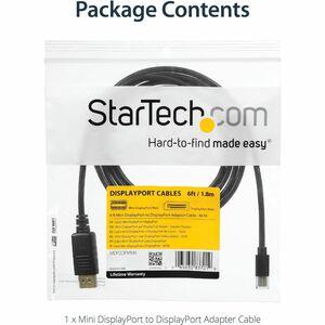 StarTech.com Cavo adattatore Mini DisplayPort 1.2 a DisplayPort 4k da 1,8m - M/M - Estremità 1: 1 x Mini DisplayPort Masch