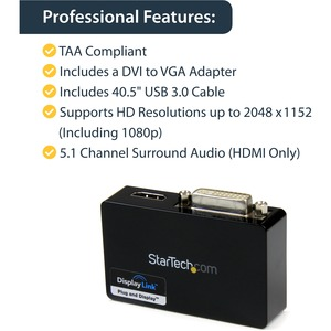 StarTech.com USB 3.0 to HDMI and DVI Dual Monitor External Video Card Adapter - USB 3 to HDMI and DVI 2048x1152 - 1 x Type