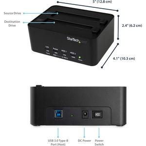 StarTech.com USB 3.0 SATA Hard Drive Duplicator & Eraser Dock - Standalone 2.5/3.5in HDD & SSD Eraser and Cloner - Duplica