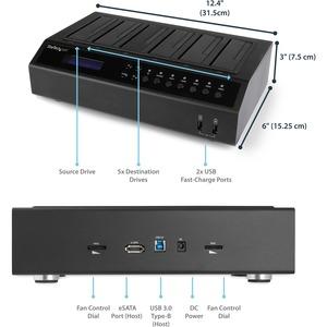 StarTech.com Dock Duplicatore Disco Rigido HDD USB 3.0 / eSATA a 6 Bay - HDD/ SSD 1:5 Cloner / Eraser