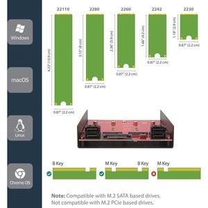 StarTech.com Panel Frontal para Bahía de 3,5 Pulgadas con 4 Bahías M.2 NGFF 4 Puertos SATA y 1 Puerto SATA de Alimentación