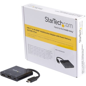 StarTech.com USB C Multiport Adapter with HDMI 4K & 1x USB 3.0 - PD - Mac & Windows - USB Type C All in One Video Adapter