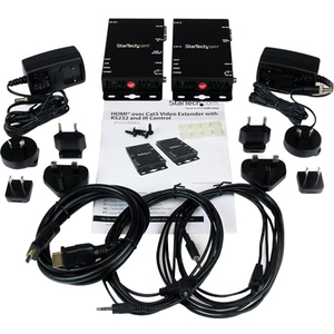 StarTech.com Video Extender Transmitter/Receiver - Wired - Black - TAA Compliant - 1 Input Device - 1 Output Device - 100