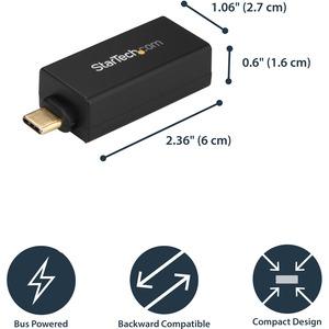 StarTech.com USB C to Gigabit Ethernet Adapter - 1Gbps NIC USB 3.0/3.1 Type C to RJ45 Port/LAN Network Adapter TB3 Compati