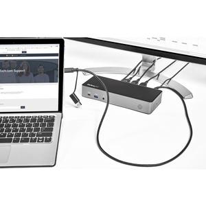 StarTech.com Dock USB-C y USB-A - Docking Station Híbrida Universal para Tres Monitores DisplayPort y HDMI 4K de 60Hz - Re