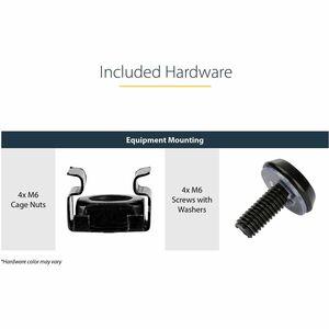 StarTech.com Black Standard Universal Server Rack Cabinet Shelf - 20 kg Static/Stationary Weight Capacity