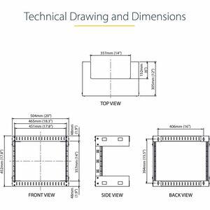 StarTech.com 8U Open Frame Wall Mount Equipment Rack - 30,5cm Deep - 61.23 kg Load Capacity - 1