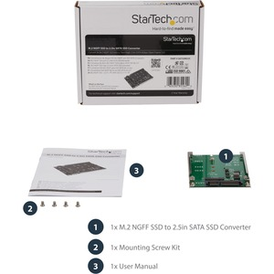 StarTech.com M.2 SSD to 2.5in SATA Adapter - M.2 NGFF to SATA Converter - 7mm - Open-Frame Bracket - M2 Hard Drive Adapter