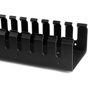 StarTech.com Vertical Cable Organizer with Finger Ducts - Vertical Cable Management Panel - Rack-Mount Cable Raceway - 0U